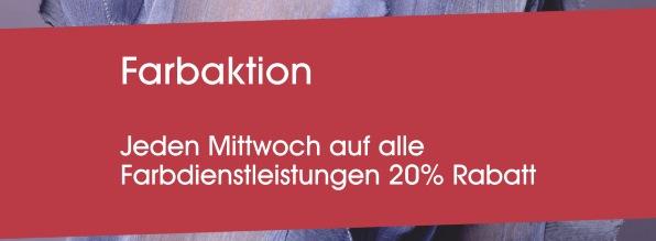 Farbaktion, jeden Mittwoch 20% sparen